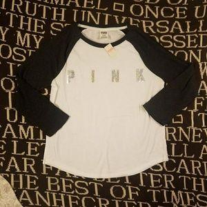 Vs pink bling baseball t shirt sequin top M